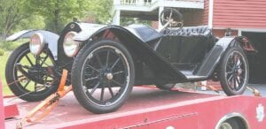 A 1913 Regal was transported Thursday afternoon to the Hadley Mill Museum, where it will be on display until September.